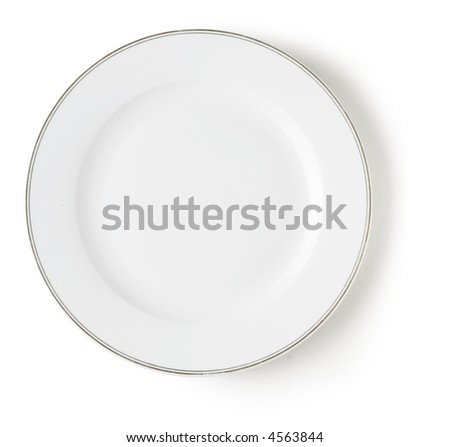 blank and empty white dish over white background with shadow - stock photo