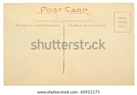Blank Antique Back of Postcard Isolated on White Background - stock photo