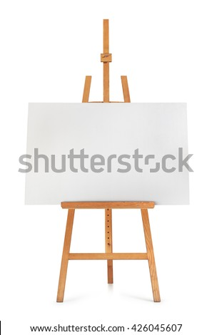 Blank art board and wooden easel isolated on white background - stock photo