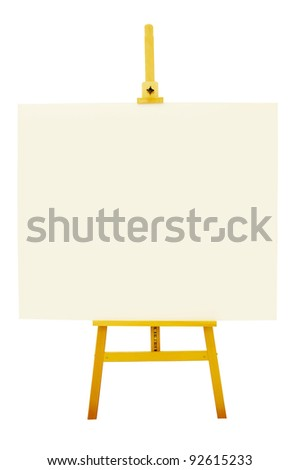 Blank artboard with easel or holder isolate on white background with clipping path - stock photo