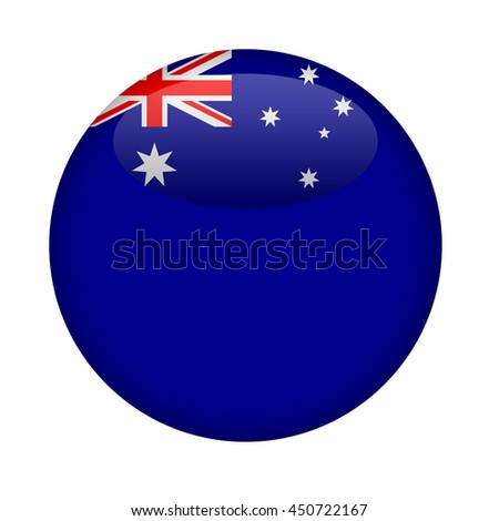 Blank Australia button with copy space on a white background. - stock photo