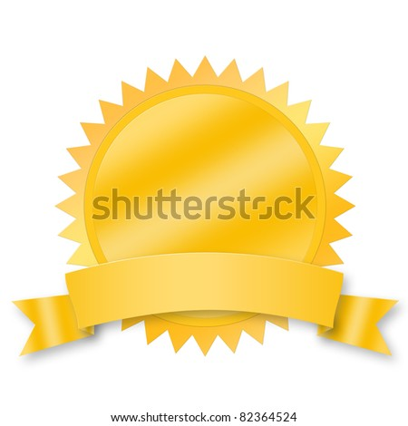 Blank award medal with ribbon isolated on white - stock photo