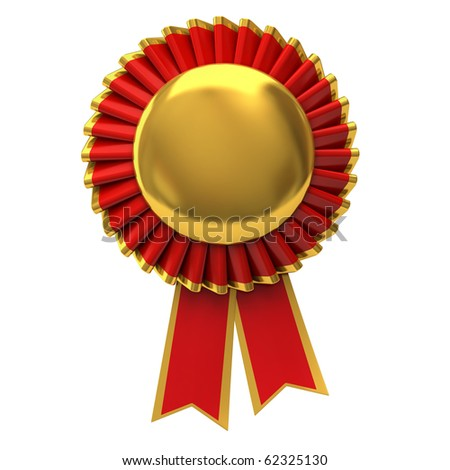 Blank award ribbon rosette - stock photo