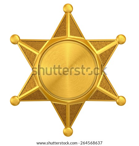 Blank badge star isolated on white - stock photo