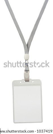 Blank badge with grey neckband. Object is isolated on white background without shadows. - stock photo