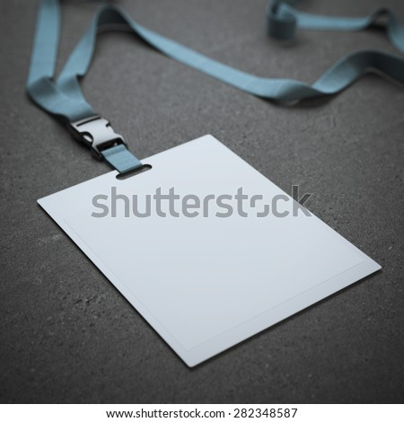 Blank badge with neckband - stock photo