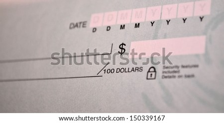 Blank bank check portrait - stock photo