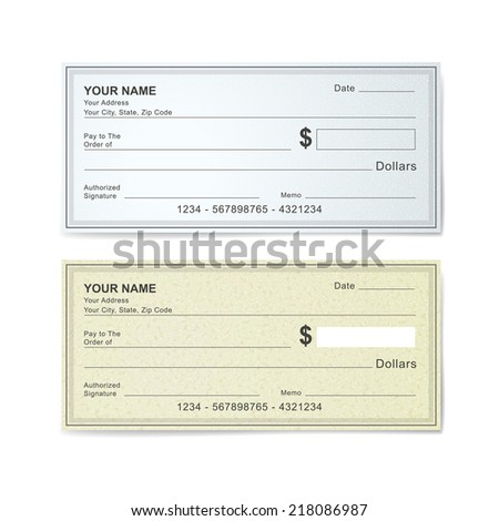 blank bank check template isolated on white - stock photo