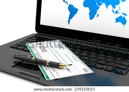 Blank Banking Check and Fountain Pen over laptop keyboard on a white background - stock photo