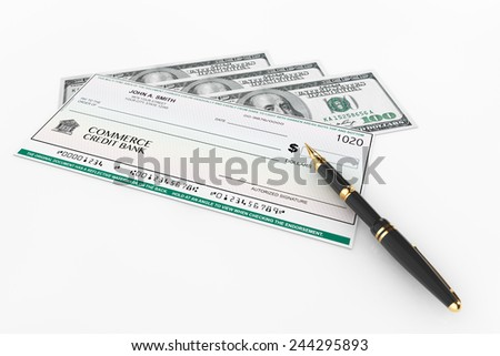 Blank Banking Check and Fountain Pen with Dollars Bills on a white background - stock photo
