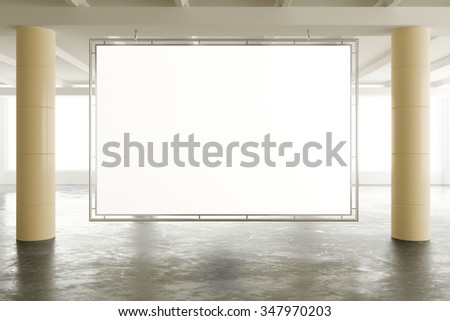 Blank banner in sunny spacious hangar area with concrete floor, mock up 3D Render - stock photo
