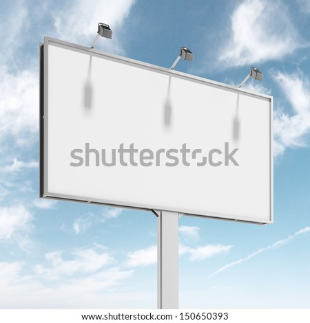 Blank big billboard over blue sky - stock photo
