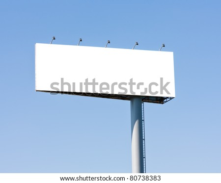 Blank big billboard over blue sky, put your text here - stock photo