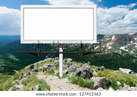 Blank billboard advertising sign in the Colorado mountains outdoors wilderness - stock photo