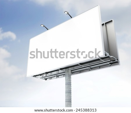Blank billboard against sky. - stock photo