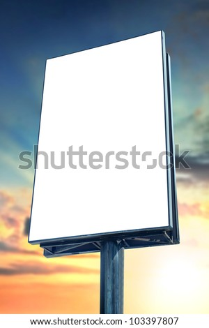 Blank billboard against sunset sky, for more billboard visit our portfolio - stock photo