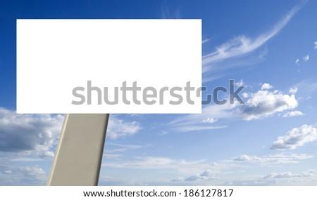 blank billboard and blue sky - stock photo