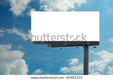 blank billboard and cloudy background - stock photo