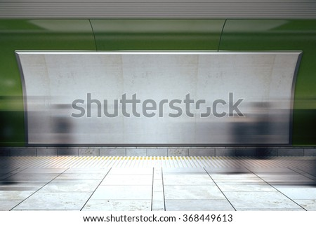 Blank billboard and moving people in subway, mock up 3D Render - stock photo