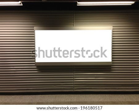 Blank billboard at airport - stock photo