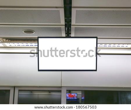 Blank billboard at an underground passage - stock photo