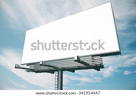 Blank billboard at blue sky background, mock up - stock photo
