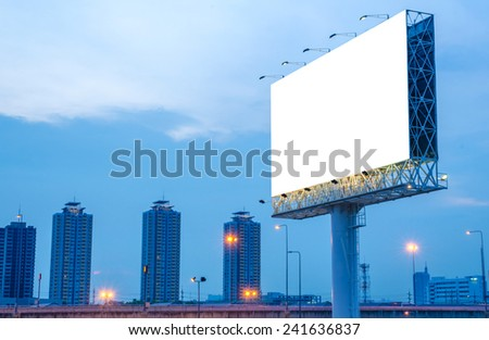 Blank billboard at night for advertisement. - stock photo