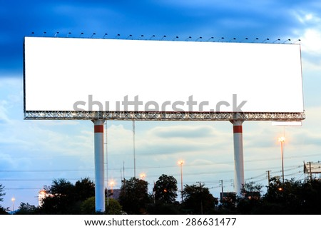 Blank billboard at sunset for advertisement - stock photo