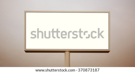 Blank billboard at sunset time ready for advertisement. Wide, abstract background. 3d render - stock photo