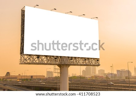 Blank billboard at twilight time ready for new advertisement. - stock photo