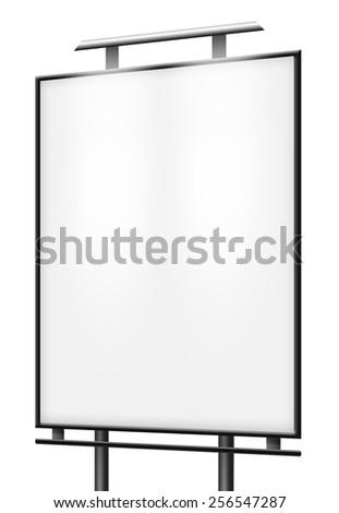 Blank billboard (city advert) isolated - stock photo