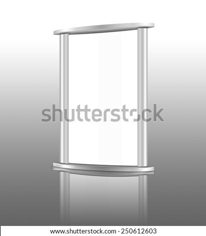 Blank billboard (city advert) on reflective background with a reflection - stock photo