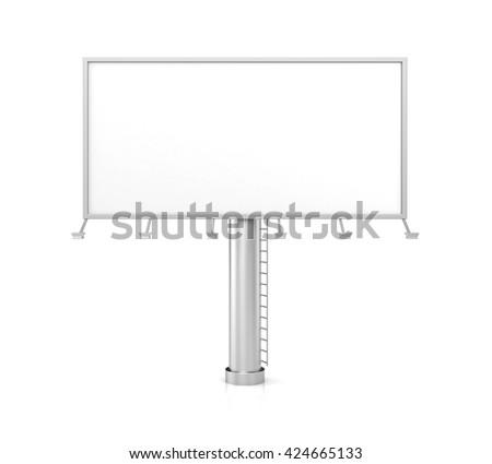 Blank billboard for advertisement on white background. 3d illustration - stock photo