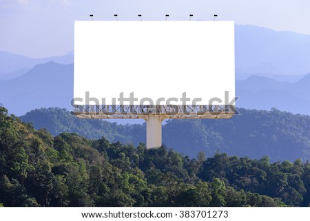 Blank billboard for advertising with forest background, concept advertising everywhere. - stock photo