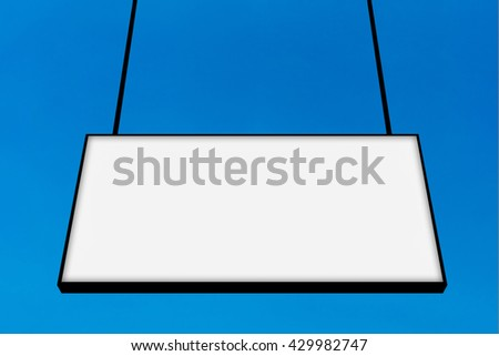 Blank billboard frame ready for advertisement on blue sky background. Elegant Design with copy space for placement your text, mock up your product, image, photo inside the billboard frame. - stock photo