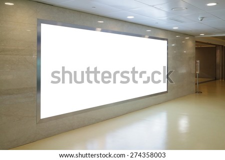 Blank Billboard in airport, copy space is great for your design - stock photo