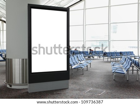 Blank Billboard in airport shot in asia, - stock photo