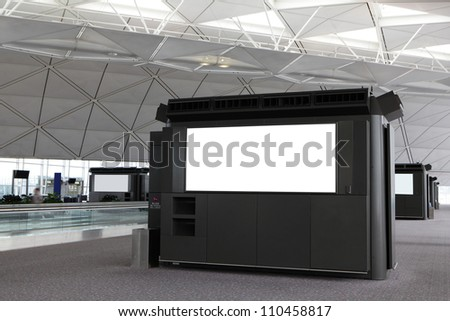Blank Billboard in airport with moving tourist  shot in asia - stock photo