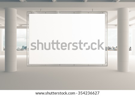 Blank billboard in empty white office with pillars and city view, mock up 3D Render - stock photo