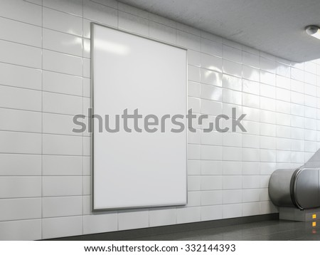 Blank billboard in the bright subway. 3d rendering - stock photo