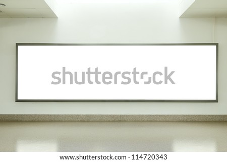 Blank billboard in underground passage - stock photo