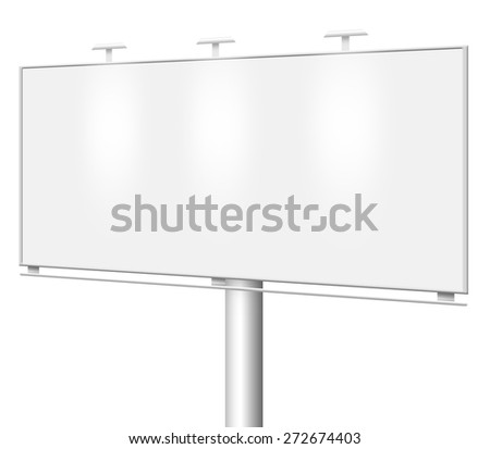 Blank billboard isolated on white background - stock photo