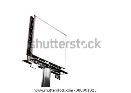 Blank billboard, isolated on white background - stock photo