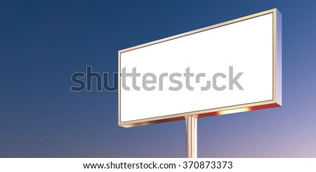 Blank billboard made of chrome metal at sunset time ready for new advertisement. Front view. 3d render - stock photo