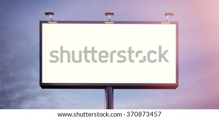 Blank billboard made of chrome metal at twilight ready for new advertisement. Flare effect. 3d render - stock photo