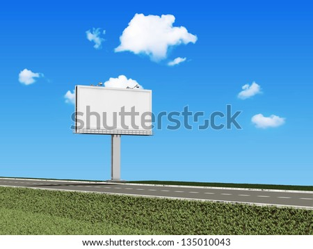 Blank Billboard near the asphalted road on beautiful clouds background - stock photo