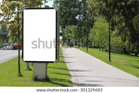Blank billboard on a street  - stock photo
