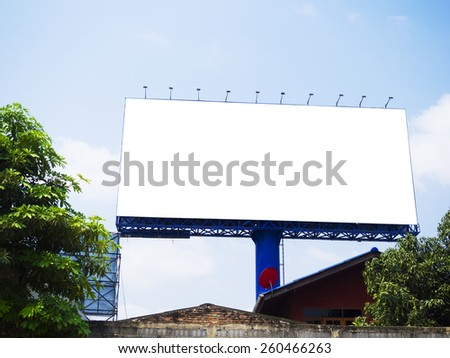 blank billboard on blue sky, for fill text - stock photo