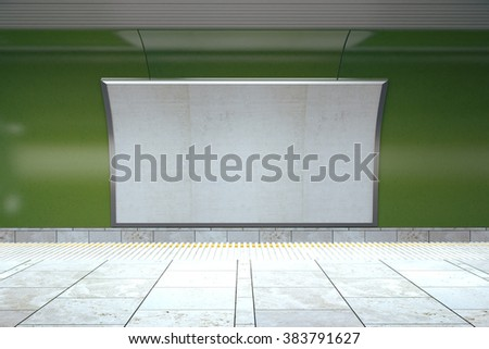 Blank billboard on green wall in empty subway, mock up, 3D render - stock photo