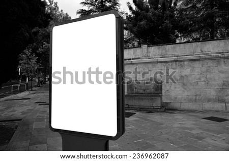 blank billboard on the city street  - stock photo